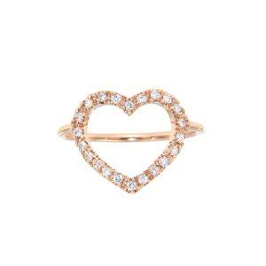 Anello cuore filo diamanti