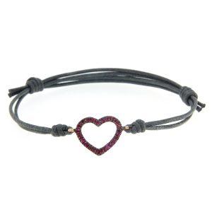 Bracciale cordino cuore filo rubini