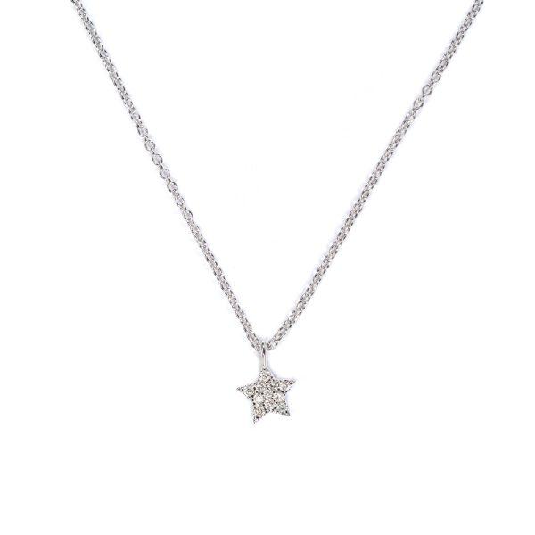 Collanina Stella Oro Bianco con Diamanti