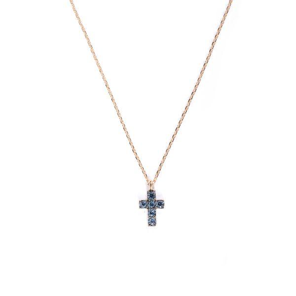 Collanina Piccola Croce con Zaffiri